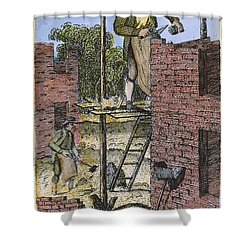 Colonial Bricklayer, 18th C Shower Curtain by Granger