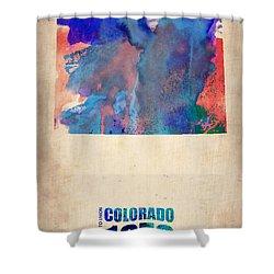 Colorado Watercolor Map Shower Curtain by Naxart Studio