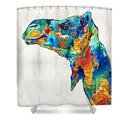 Colorful Camel Art By Sharon Cummings Shower Curtain by Sharon Cummings