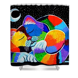 Colorful Cat In The Moonlight Shower Curtain by Nick Gustafson