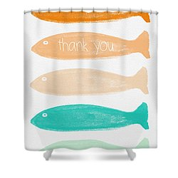 Colorful Fish Thank You Card Shower Curtain by Linda Woods