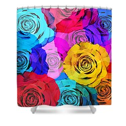 Colorful Roses Design Shower Curtain by Setsiri Silapasuwanchai