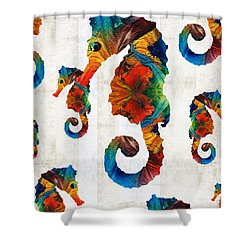 Colorful Seahorse Collage Art By Sharon Cummings Shower Curtain by Sharon Cummings