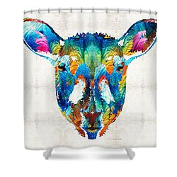 Colorful Sheep Art - Shear Color - By Sharon Cummings Shower Curtain by Sharon Cummings