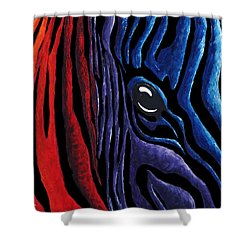 Colorful Stripes Original Zebra Painting By Madart In Black Shower Curtain by Megan Duncanson