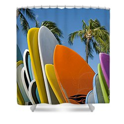 Colorful Surfboards Shower Curtain by Ron Dahlquist - Printscapes