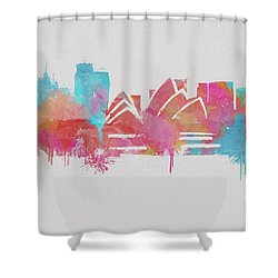 Colorful Sydney Skyline Silhouette Shower Curtain by Dan Sproul