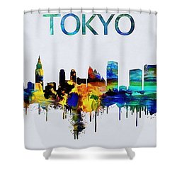 Colorful Tokyo Skyline Silhouette Shower Curtain by Dan Sproul