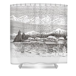 Columbia River Raft Up Shower Curtain by Jack Pumphrey
