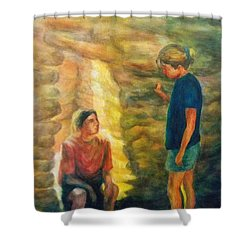 Communion Shower Curtain by Becky Chappell