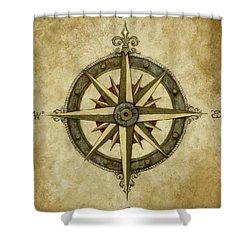 Compass Rose Shower Curtain by Judy Merrell