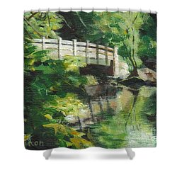 Concord River Bridge Shower Curtain by Claire Gagnon
