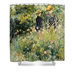 Conversation In A Rose Garden Shower Curtain by Pierre Auguste Renoir