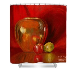 Copper Pot And Fruit Shower Curtain by Mary Benke