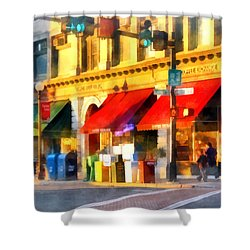 Corner Of Center And Merchant Rutland Vt Shower Curtain by Susan Savad