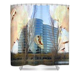 Corporate Cloning Shower Curtain by Kurt Van Wagner