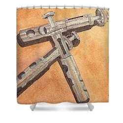 Corroded Trumpet Pistons Shower Curtain by Ken Powers