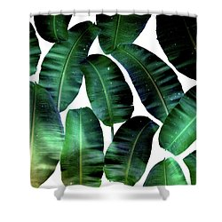 Cosmic Banana Leaves Shower Curtain by Uma Gokhale
