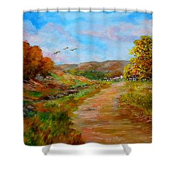 Country Road 2 Shower Curtain by Constantinos Charalampopoulos