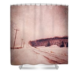 Country Road In Snow Shower Curtain by Jill Battaglia