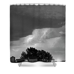 County Line Northern Colorado Lightning Storm Bw Shower Curtain by James BO  Insogna