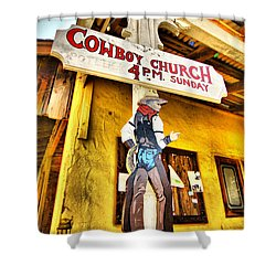 Cowboy Church Shower Curtain by Cheryl Young