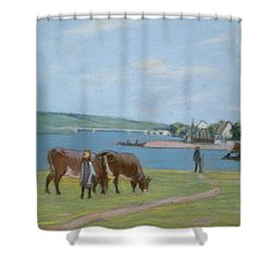Cows On The Banks Of The Seine At Saint Mammes Shower Curtain by Alfred Sisley