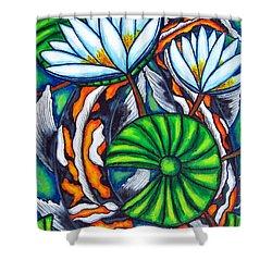 Coy Carp Shower Curtain by Lisa  Lorenz