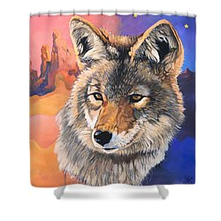 Coyote The Trickster Shower Curtain by J W Baker