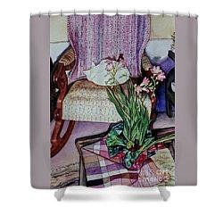 Cozy Kitty Shower Curtain by Cynthia Pride