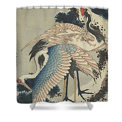 Cranes On Pine Shower Curtain by Hokusai