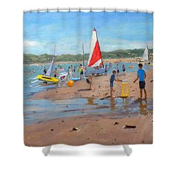 Cricket And Red And White Sail Shower Curtain by Andrew Macara