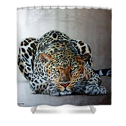Crouching Leopard Shower Curtain by Susana Falconi