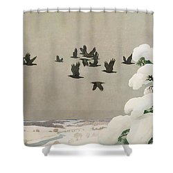 Crows In Winter Shower Curtain by Newell Convers Wyeth