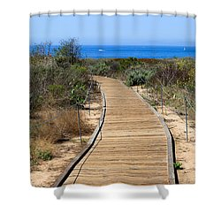 Crystal Cove State Park Wooden Walkway Shower Curtain by Paul Velgos