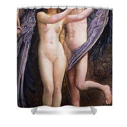 Cupid And Psyche Shower Curtain by Annie Louisa Swynnerton