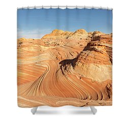Curves Into Waves Shower Curtain by Tim Grams