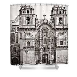 Cusco Cathedral Shower Curtain by Darcy Michaelchuk