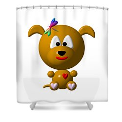 Cute Dog With Dragonfly Shower Curtain by Rose Santuci-Sofranko