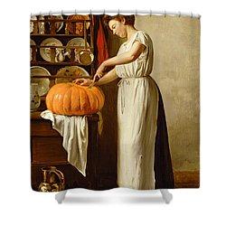 Cutting The Pumpkin Shower Curtain by Franck-Antoine Bail