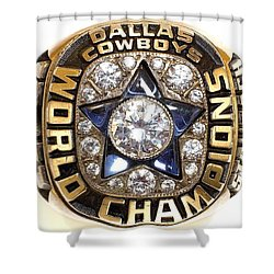 Dallas Cowboys First Super Bowl Ring Shower Curtain by Paul Van Scott