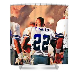 Dallas Cowboys Triplets Shower Curtain by Paul Van Scott