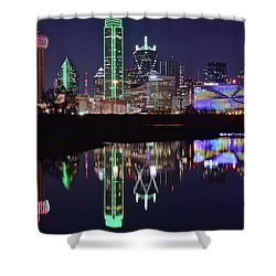 Dallas Reflecting At Night Shower Curtain by Frozen in Time Fine Art Photography