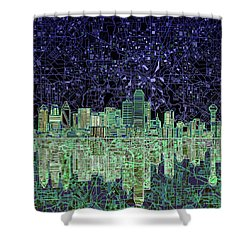 Dallas Skyline Abstract 4 Shower Curtain by Bekim Art