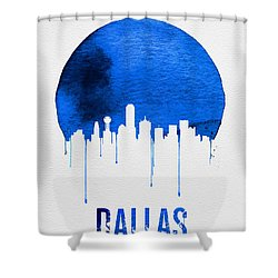 Dallas Skyline Blue Shower Curtain by Naxart Studio