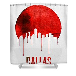 Dallas Skyline Red Shower Curtain by Naxart Studio