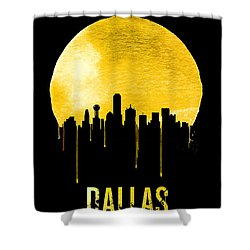 Dallas Skyline Yellow Shower Curtain by Naxart Studio