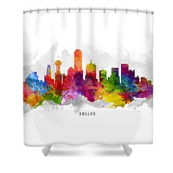 Dallas Texas Cityscape 13 Shower Curtain by Aged Pixel
