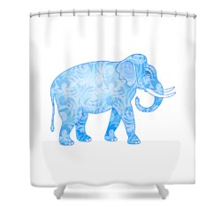 Damask Pattern Elephant Shower Curtain by Antique Images
