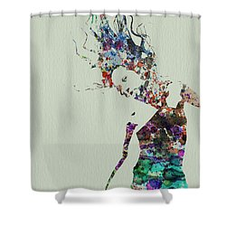 Dancer Watercolor Splash Shower Curtain by Naxart Studio